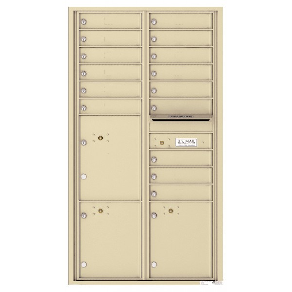 15 Tenant Doors with 3 Parcel Lockers and Outgoing Mail Compartment - 4C Wall Mount Max Height Mailboxes - 4C16D-15