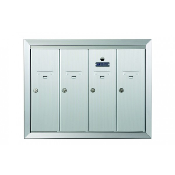 Standard 4 Door Vertical Mailbox Unit - Front Loading and Fully Recessed - 12504HA