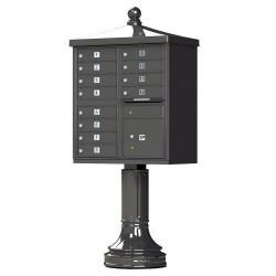 12 Tenant Door Traditional Decorative Style Mailbox (Pedestal Included) - Type 2 - 1570-12AF-DT