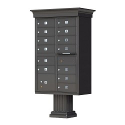 13 Tenant Door Classic Decorative CBU Mailbox (Pedestal Included) - Type 4 - 1570-13AF-DC
