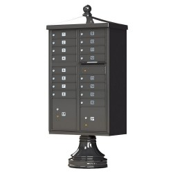 16 Tenant Door Traditional Decorative Style Mailbox (Pedestal Included) - Type 3 - 1570-16AF-DT