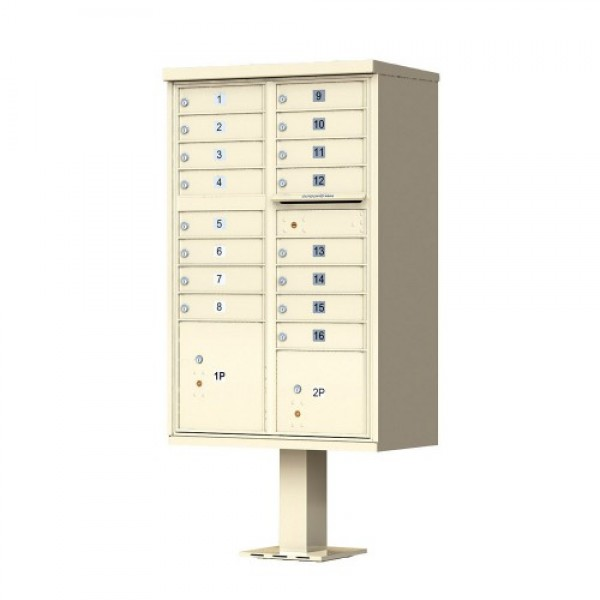 16 Tenant Door Standard Style CBU Mailbox (Pedestal Included) - Type 3 USPS Approved Mailboxes - 1570-16AF