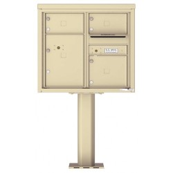 3 Over-sized Tenant Doors with 1 Parcel Door and Outgoing Mail Compartment (Pedestal Included) - 4C Pedestal Mount 7-High Mailboxes - 4C07D-03-P