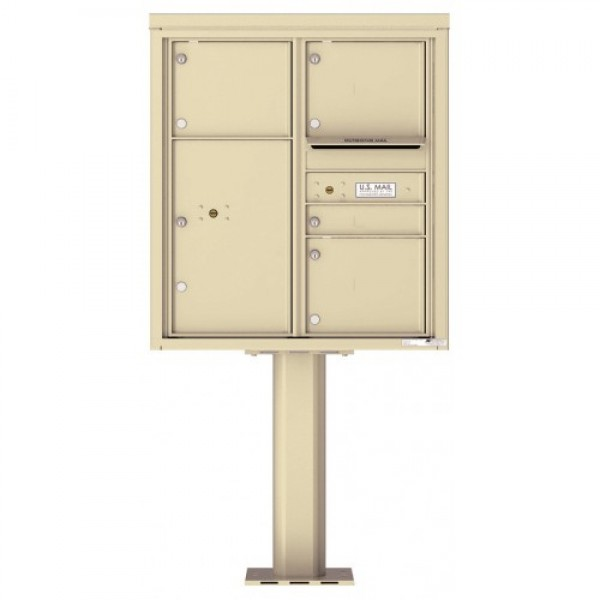 1 Standard and 3 Over-sized Tenant Doors with 1 Parcel Door and Outgoing Mail Compartment (Pedestal Included) - 4C Pedestal Mount 9-High Mailboxes - 4C09D-04-P