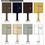 10 Tenant Doors with 1 Parcel Door and Outgoing Mail Compartment (Pedestal Included) - 4C Pedestal Mount 9-High Mailboxes - 4C09D-10-P