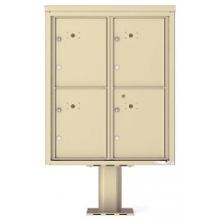 4 Parcel Door Unit - 4C Pedestal Mount 10-High (Pedestal Included) - 4C10D-4P-P