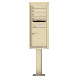 4 Tenant Doors with 1 Parcel Door and Outgoing Mail Compartment (Pedestal Included) - 4C Pedestal Mount 11-High Mailboxes - 4C11S-04-P