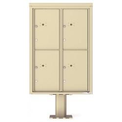 4 Parcel Door Unit - 4C Pedestal Mount 12-High (Pedestal Included) - 4C12D-4P-P