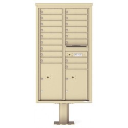 17 Tenant Doors with 2 Parcel Doors and 1 Outgoing Mail Compartment (Pedestal Included) - 4C Pedestal Mount 15-High Mailboxes - 4C15D-17-P