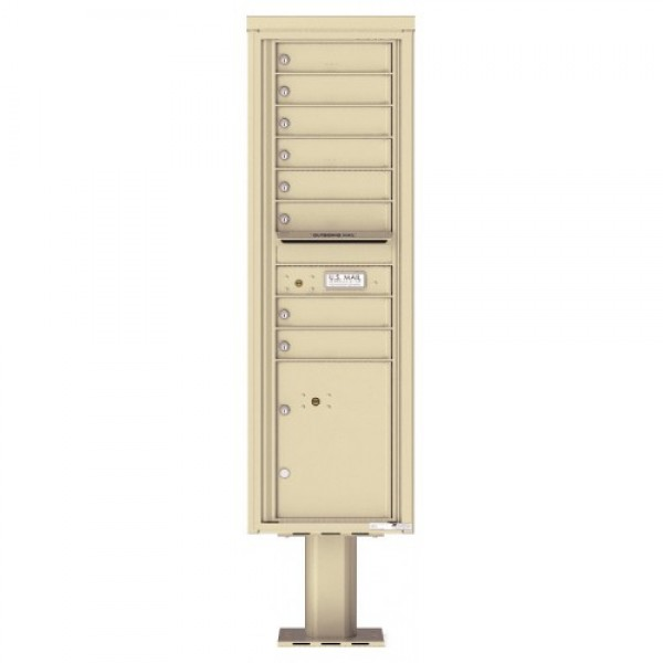 8 Tenant Doors with 1 Parcel Door and Outgoing Mail Compartment (Pedestal Included) - 4C Pedestal Mount 15-High Mailboxes - 4C15S-08-P