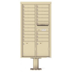 20 Tenant Doors with 2 Parcel Doors and 1 Outgoing Mail Compartment (Pedestal Included) - 4C Pedestal Mount Max Height Mailboxes - 4C16D-20-P