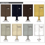9 Tenant Doors with 2 Parcel Doors and 1 Outgoing Mail Compartment (Pedestal Included) - 4C Pedestal Mount ADA Max Height Mailboxes - 4CADD-09-P