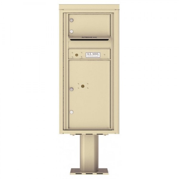 1 Over-sized Tenant Door with 1 Parcel Door and Outgoing Mail Compartment (Pedestal Included) - 4C Pedestal Mount ADA Max Height Mailboxes - 4CADS-01-P