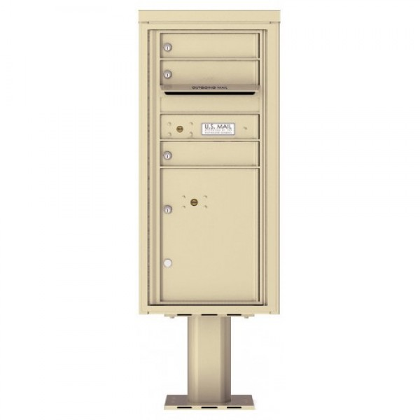 3 Tenant Doors with 1 Parcel Door and Outgoing Mail Compartment (Pedestal Included) - 4C Pedestal Mount ADA Max Height Mailboxes - 4CADS-03-P