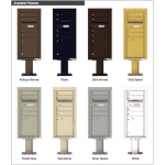 4 Tenant Doors with 1 Parcel Door and Outgoing Mail Compartment (Pedestal Included) - 4C Pedestal Mount ADA Max Height Mailboxes - 4CADS-04-P
