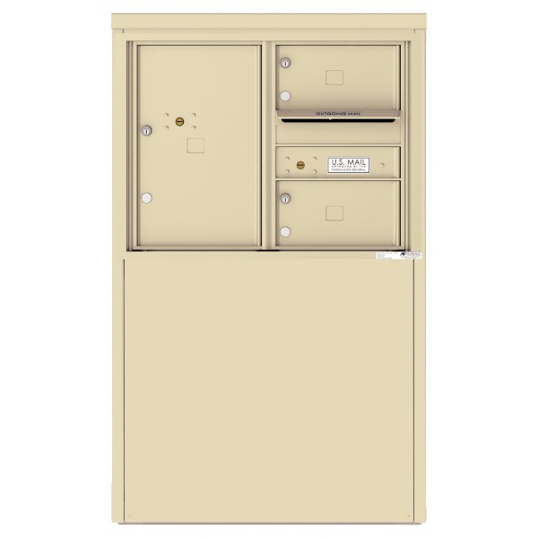 2 Tenant Doors with 1 Parcel Locker and Outgoing Mail Compartment - 4C Depot Mailbox Module - 4C06D-02-D
