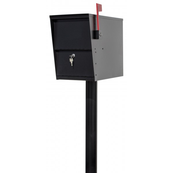 QualArc LetterSentry Rust Free Steel Locking Mailbox with Direct Buriel Galvanized Steel Post - Model LSLM-2000-PST