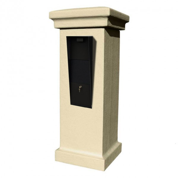 QualArc Vacation Mailbox Stucco Column Column in Burnt Tuscan Color - Model VAC-STUCOL-BT