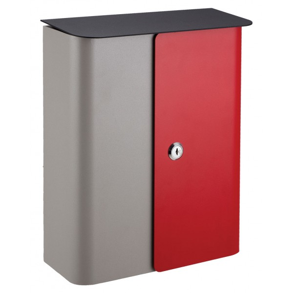 QualArc Vista Wall Mounted Gray / Red Front Door with Black Metal Lid Locking Mailbox - Model WF-1515-RG