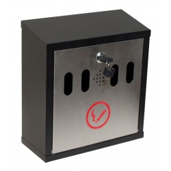 QualArc Hayward Wall Mount Cigarette Ash Receptacle in Black with Stainless - Model WF-8022