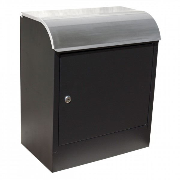 QualArc Selma Black with Stainless Steel Locking Mail and Parcel Box - Model WF-PB018