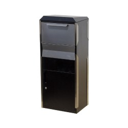 QualArc Locking Parcel Drop Box in Black with Stainless Steel - Model WF-WPB014BKST